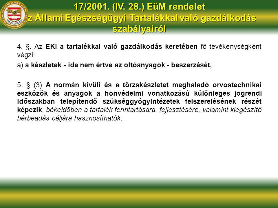 17/2001. (IV. 28.) EüM rendelet az Állami Egészségügyi Tartalékkal való gazdálkodás szabályairól 4. §. Az EKI a tartalékkal való gazdálkodás keretében