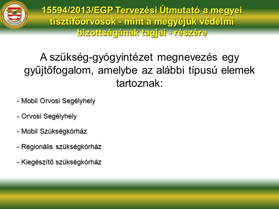 15594/2013/EGP Tervezési Útmutató a megyei tisztifőorvosok - mint a megyéjük védelmi bizottságának tagjai - részére A szükség-gyógyintézet megnevezés