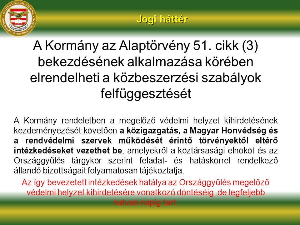 Jogi háttér A Kormány az Alaptörvény 51. cikk (3) bekezdésének alkalmazása körében elrendelheti a közbeszerzési szabályok felfüggesztését A Kormány re