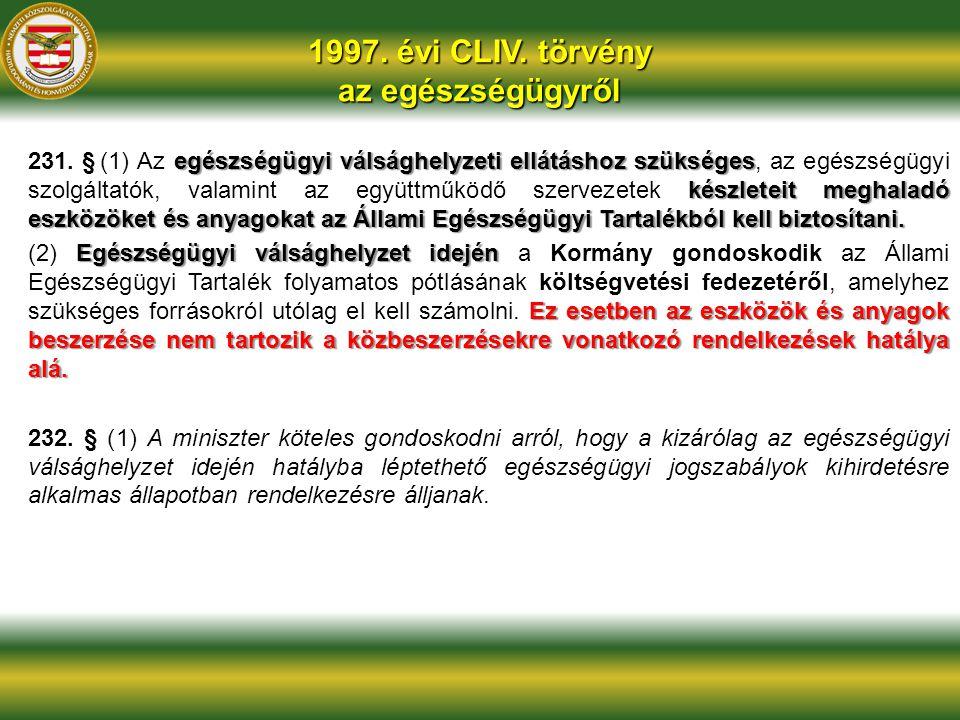 1997. évi CLIV. törvény az egészségügyről egészségügyi válsághelyzeti ellátáshoz szükséges készleteit meghaladó eszközöket és anyagokat az Állami Egés