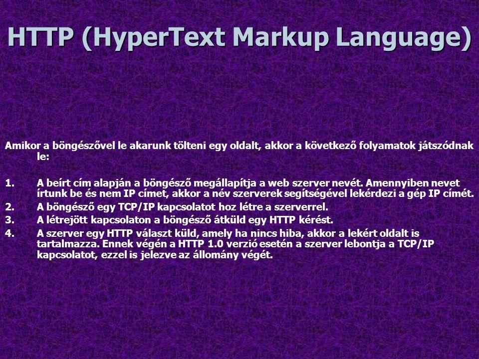 HTTP (HyperText Markup Language) Amikor a böngészővel le akarunk tölteni egy oldalt, akkor a következő folyamatok játszódnak le: 1.