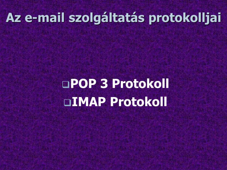 Az e-mail szolgáltatás protokolljai   POP 3 Protokoll   IMAP Protokoll