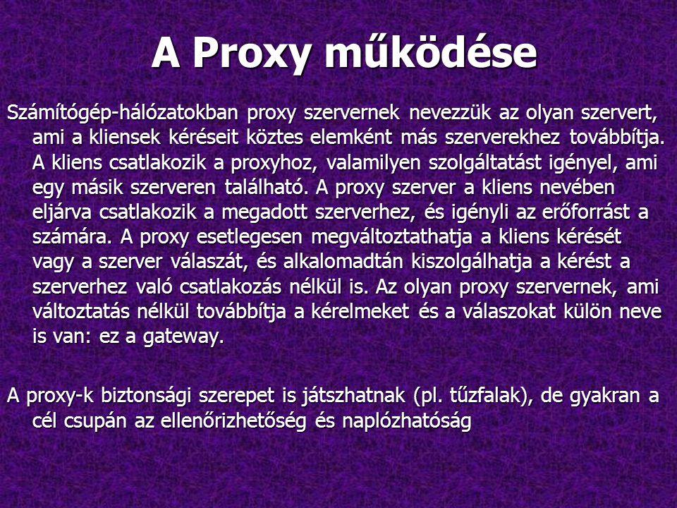 A Proxy működése Számítógép-hálózatokban proxy szervernek nevezzük az olyan szervert, ami a kliensek kéréseit köztes elemként más szerverekhez továbbítja.