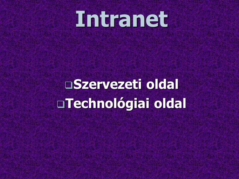 Szervezeti oldal Érdemes áttekinteni a szervezeten végrehajtandó illetve az abban az Intranet hatására bekövetkező változásokat.