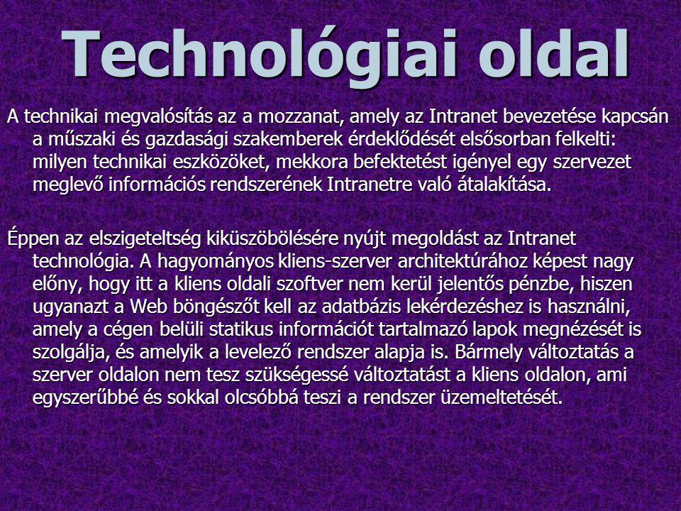 Az Intranet technológiai oldala több részre bontható  központi adatbázis szerver(ek)  kisebb Web szerver(ek)  kliens gépek  hálózat kialakítás, biztonság  szoftverek