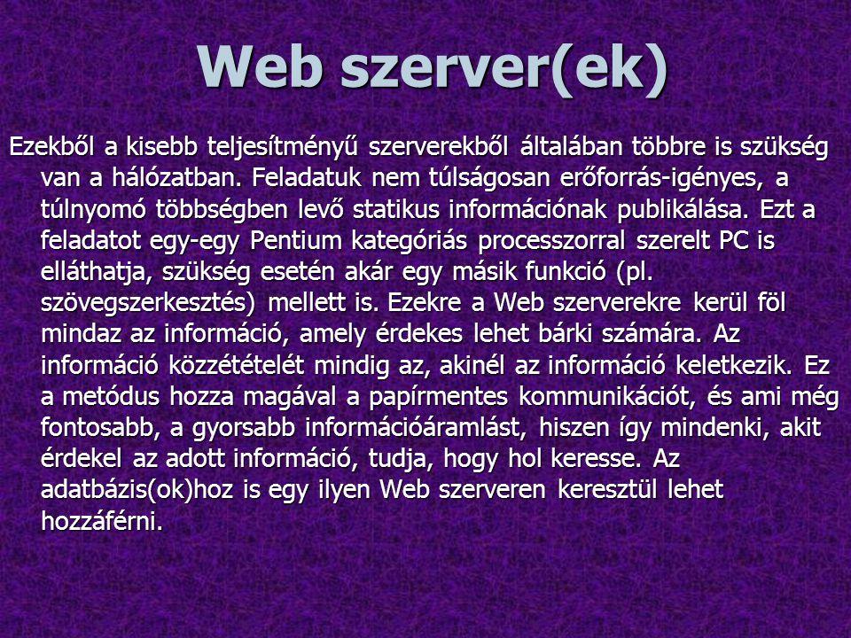 Web szerver(ek) Ezekből a kisebb teljesítményű szerverekből általában többre is szükség van a hálózatban.