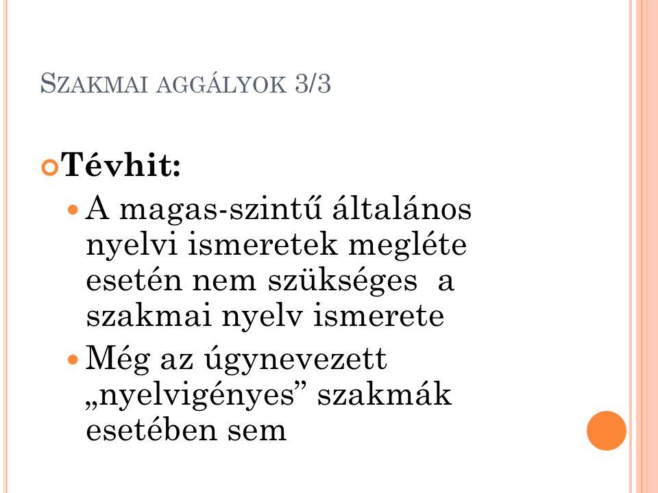 """S ZAKMAI AGGÁLYOK 3/3 Tévhit: A magas-szintű általános nyelvi ismeretek megléte esetén nem szükséges a szakmai nyelv ismerete Még az úgynevezett """"nyelvigényes szakmák esetében sem"""