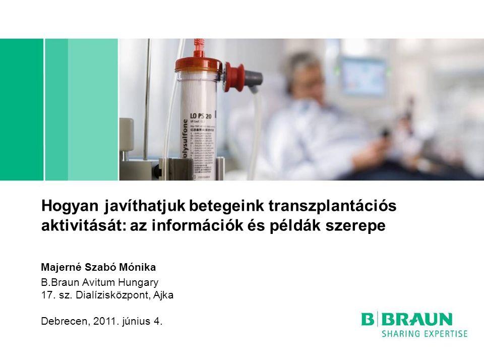 Hogyan javíthatjuk betegeink transzplantációs aktivitását: az információk és példák szerepe B.Braun Avitum Hungary 17. sz. Dialízisközpont, Ajka Debre