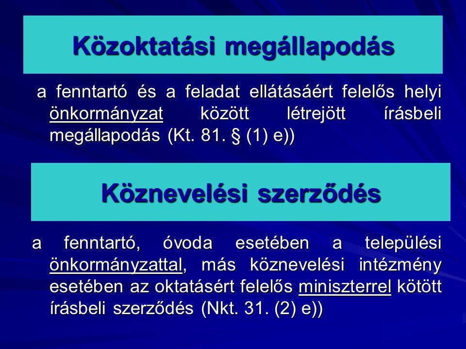 Közoktatási megállapodás a fenntartó és a feladat ellátásáért felelős helyi önkormányzat között létrejött írásbeli megállapodás (Kt. 81. § (1) e)) a f
