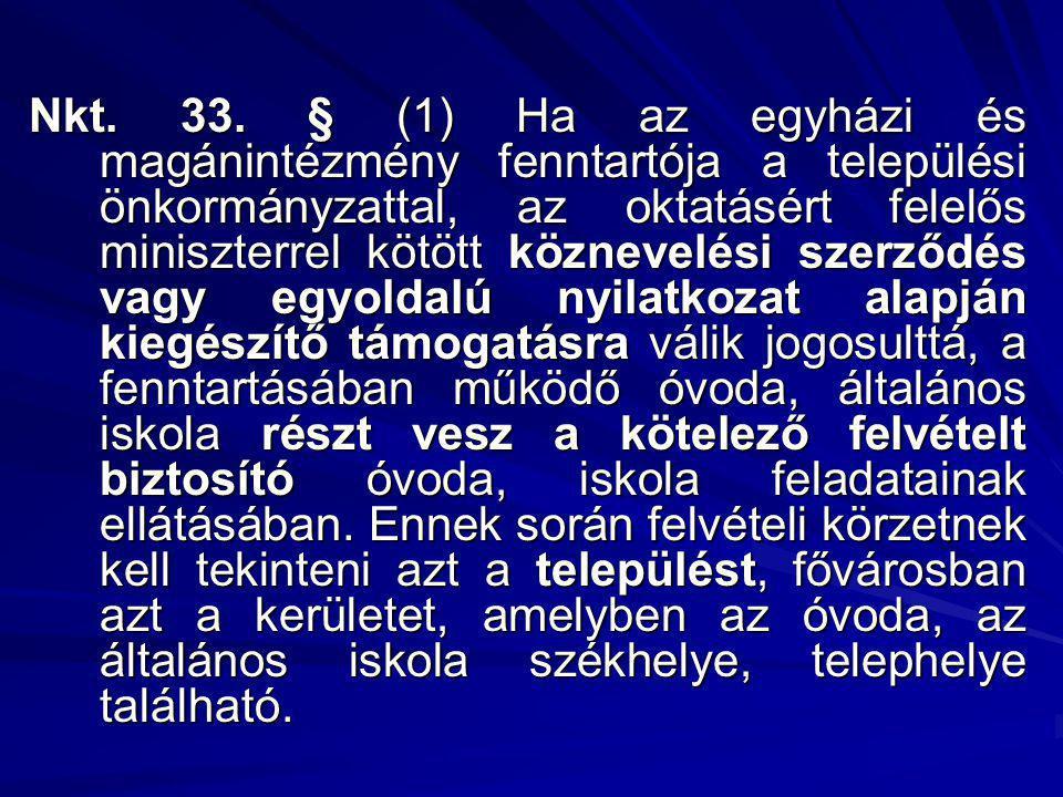 Nkt. 33. § (1) Ha az egyházi és magánintézmény fenntartója a települési önkormányzattal, az oktatásért felelős miniszterrel kötött köznevelési szerződ
