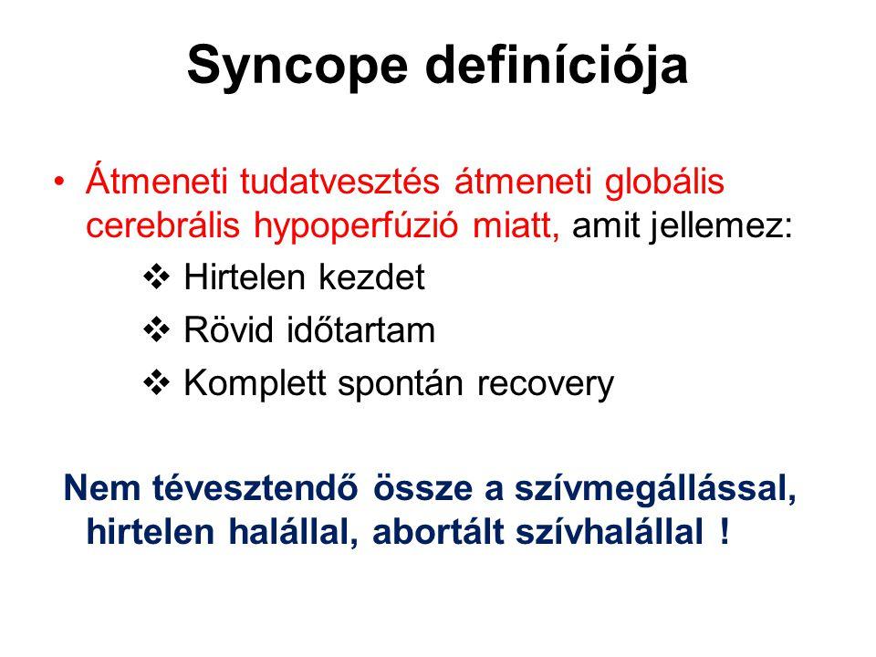 Syncope definíciója Átmeneti tudatvesztés átmeneti globális cerebrális hypoperfúzió miatt, amit jellemez:  Hirtelen kezdet  Rövid időtartam  Komple
