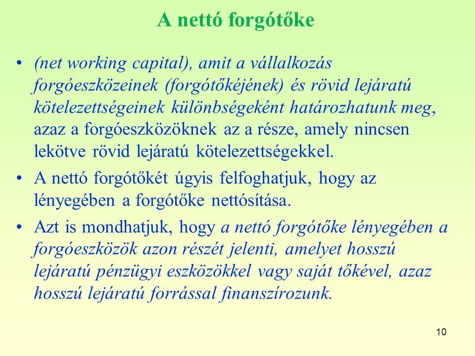 10 A nettó forgótőke (net working capital), amit a vállalkozás forgóeszközeinek (forgótőkéjének) és rövid lejáratú kötelezettségeinek különbségeként h