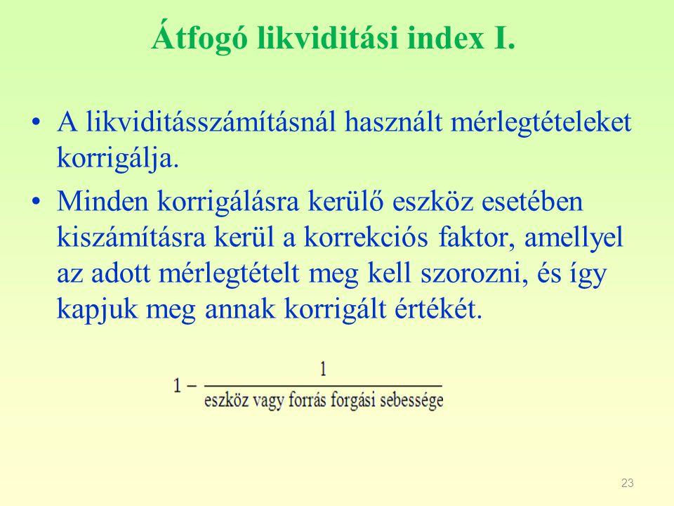23 Átfogó likviditási index I. A likviditásszámításnál használt mérlegtételeket korrigálja. Minden korrigálásra kerülő eszköz esetében kiszámításra ke