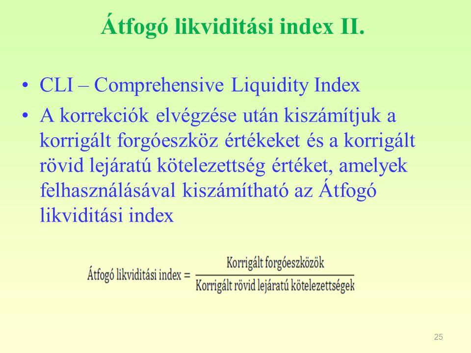 25 Átfogó likviditási index II. CLI – Comprehensive Liquidity Index A korrekciók elvégzése után kiszámítjuk a korrigált forgóeszköz értékeket és a kor