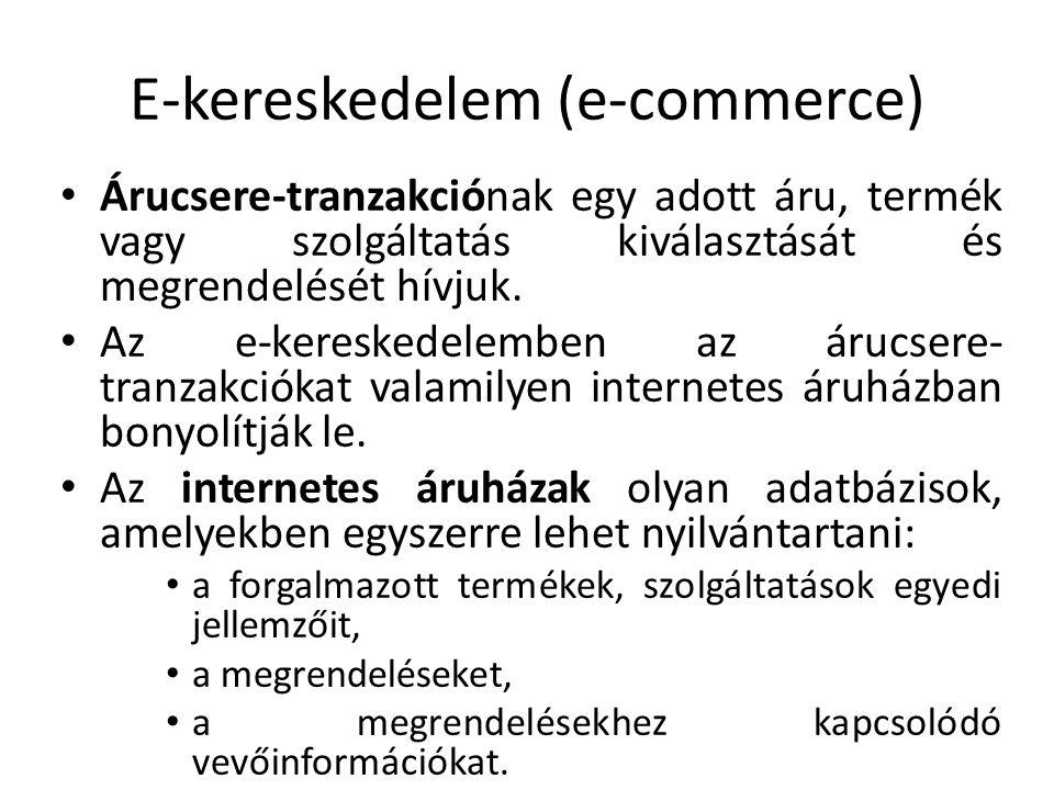 E-kereskedelem (e-commerce) Árucsere-tranzakciónak egy adott áru, termék vagy szolgáltatás kiválasztását és megrendelését hívjuk. Az e-kereskedelemben