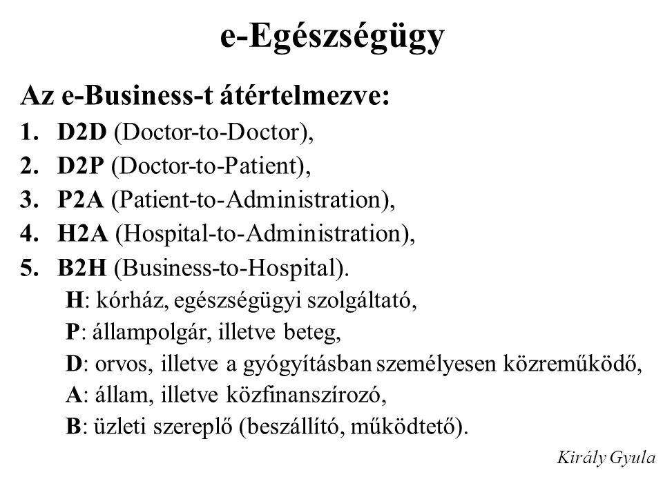 e-Egészségügy Az e-Business-t átértelmezve: 1.D2D (Doctor-to-Doctor), 2.D2P (Doctor-to-Patient), 3.P2A (Patient-to-Administration), 4.H2A (Hospital-to