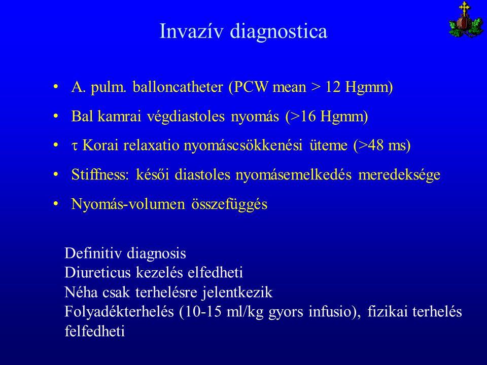 Invazív diagnostica A. pulm. balloncatheter (PCW mean > 12 Hgmm) Bal kamrai végdiastoles nyomás (>16 Hgmm)  Korai relaxatio nyomáscsökkenési üteme (>