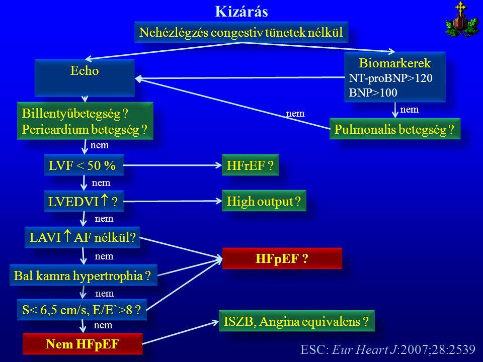 Kizárás Nehézlégzés congestiv tünetek nélkül Billentyűbetegség ? Pericardium betegség ? Billentyűbetegség ? Pericardium betegség ? Echo HFpEF ? Biomar