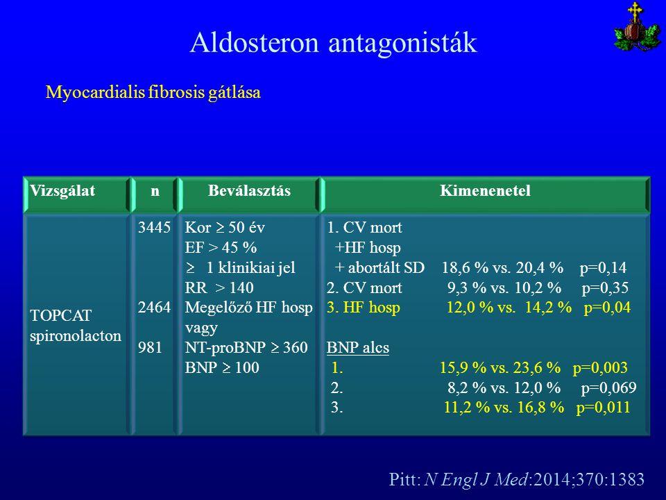 Aldosteron antagonisták Pitt: N Engl J Med:2014;370:1383 Myocardialis fibrosis gátlása