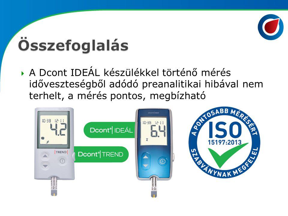  A Dcont IDEÁL készülékkel történő mérés időveszteségből adódó preanalitikai hibával nem terhelt, a mérés pontos, megbízható