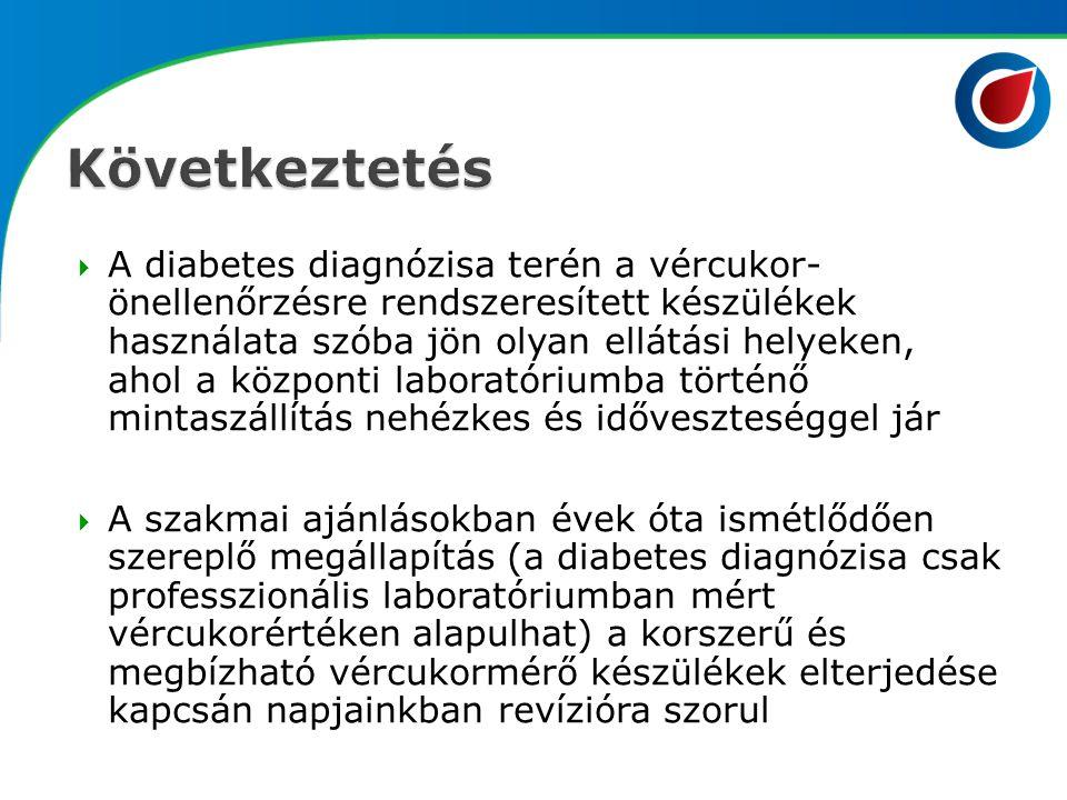  A diabetes diagnózisa terén a vércukor- önellenőrzésre rendszeresített készülékek használata szóba jön olyan ellátási helyeken, ahol a központi labo