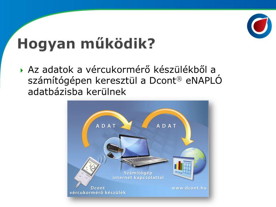  Az adatok a vércukormérő készülékből a számítógépen keresztül a Dcont ® eNAPLÓ adatbázisba kerülnek