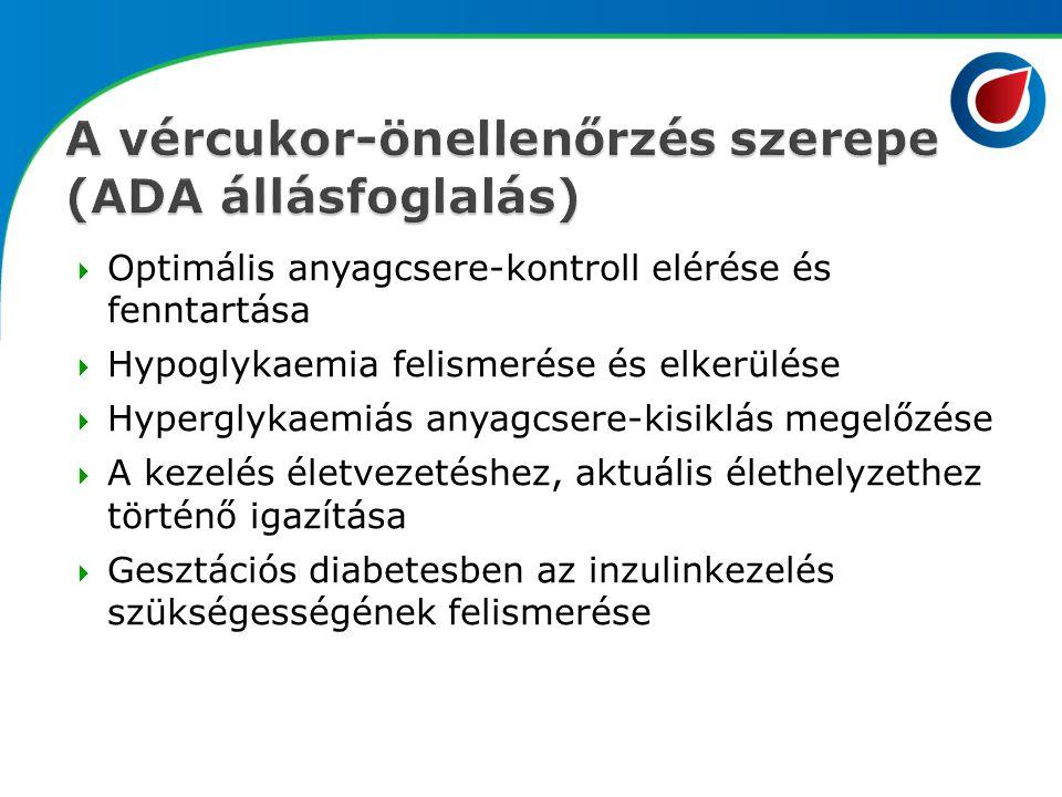  Optimális anyagcsere-kontroll elérése és fenntartása  Hypoglykaemia felismerése és elkerülése  Hyperglykaemiás anyagcsere-kisiklás megelőzése  A