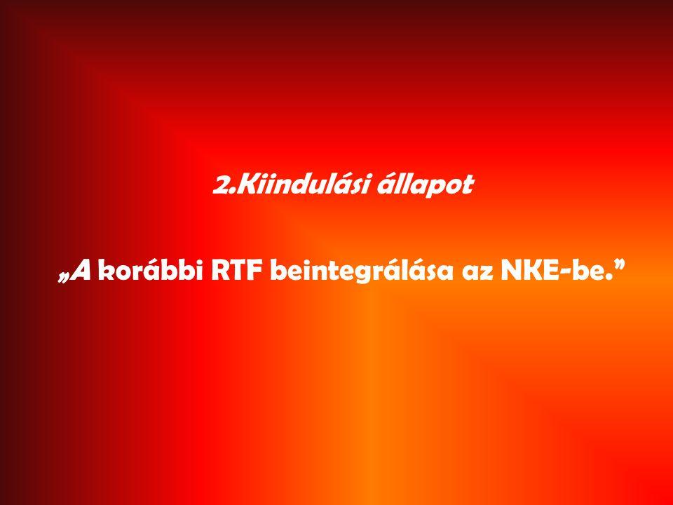 """2.Kiindulási állapot """"A korábbi RTF beintegrálása az NKE-be."""
