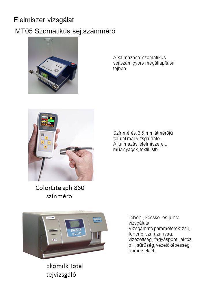 Élelmiszer vizsgálat Alkalmazása: szomatikus sejtszám gyors megállapítása tejben. MT05 Szomatikus sejtszámmérő ColorLite sph 860 színmérő tejvizsgáló