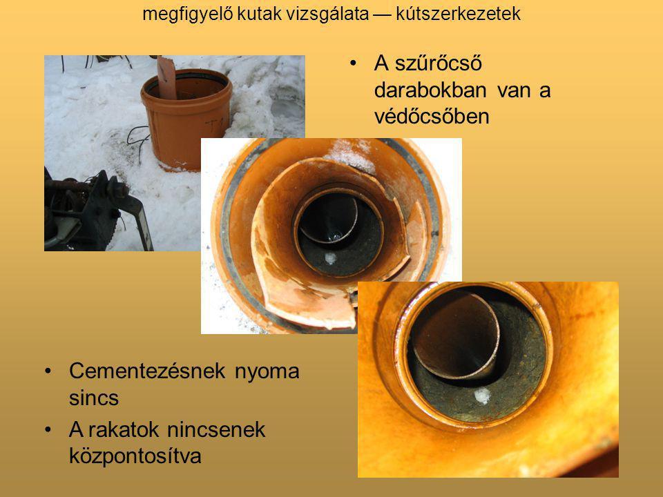 megfigyelő kutak vizsgálata — kútszerkezetek A szűrőcső darabokban van a védőcsőben Cementezésnek nyoma sincs A rakatok nincsenek központosítva