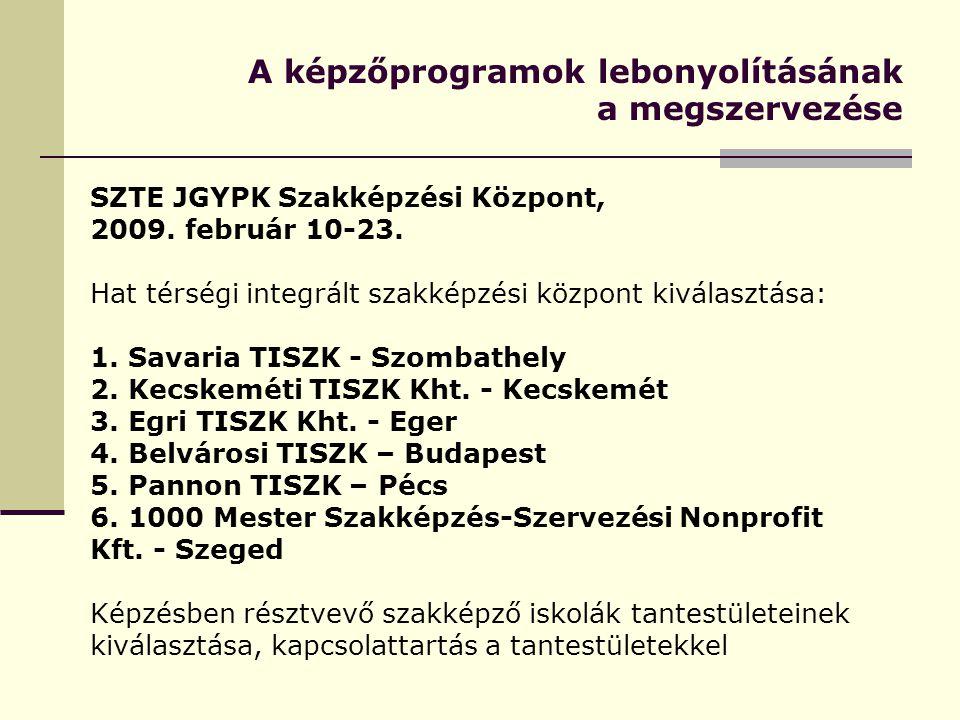 A képzőprogramok lebonyolításának a megszervezése SZTE JGYPK Szakképzési Központ, 2009.