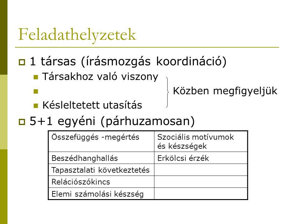 A vizsgálat menete, az eredmények rögzítése Közben: 1.a) Társakhoz való viszony 1.b) késleltetett utasítás  megfigyelése és rögzítése az 7.