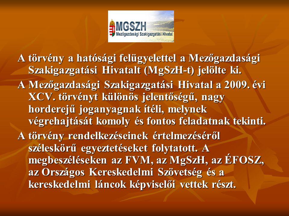 A törvény a hatósági felügyelettel a Mezőgazdasági Szakigazgatási Hivatalt (MgSzH-t) jelölte ki.