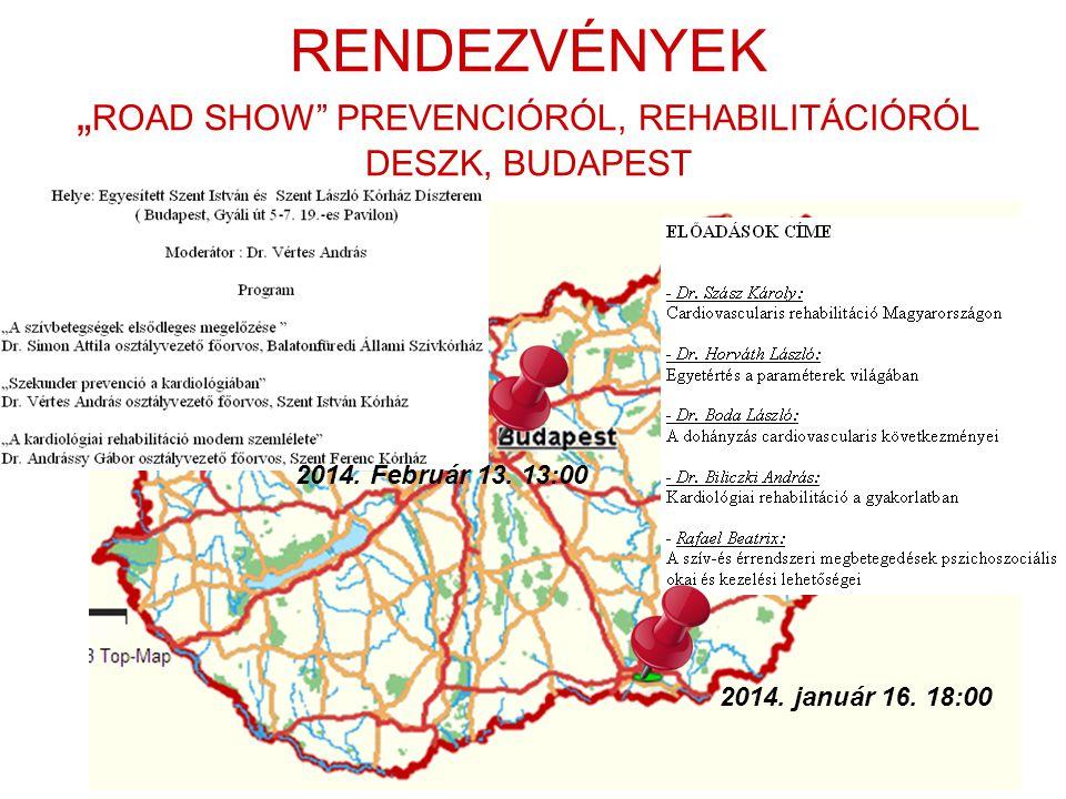 """RENDEZVÉNYEK """" ROAD SHOW"""" PREVENCIÓRÓL, REHABILITÁCIÓRÓL DESZK, BUDAPEST 2014. január 16. 18:00 2014. Február 13. 13:00"""