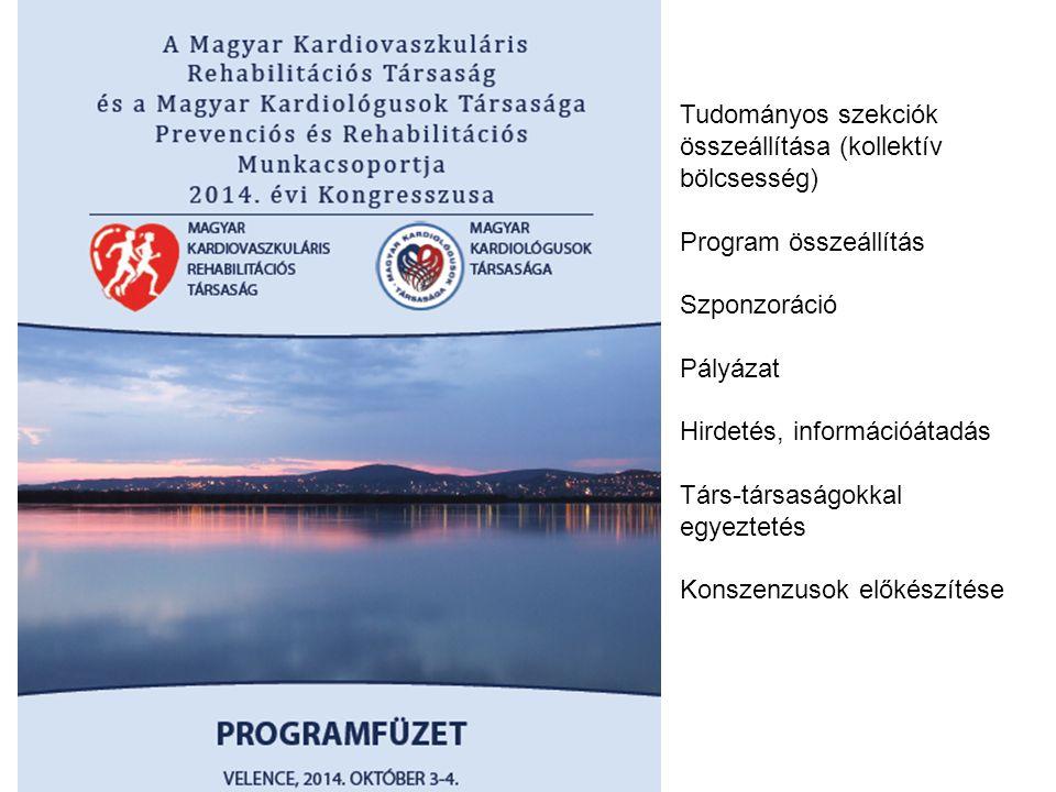 Tudományos szekciók összeállítása (kollektív bölcsesség) Program összeállítás Szponzoráció Pályázat Hirdetés, információátadás Társ-társaságokkal egye
