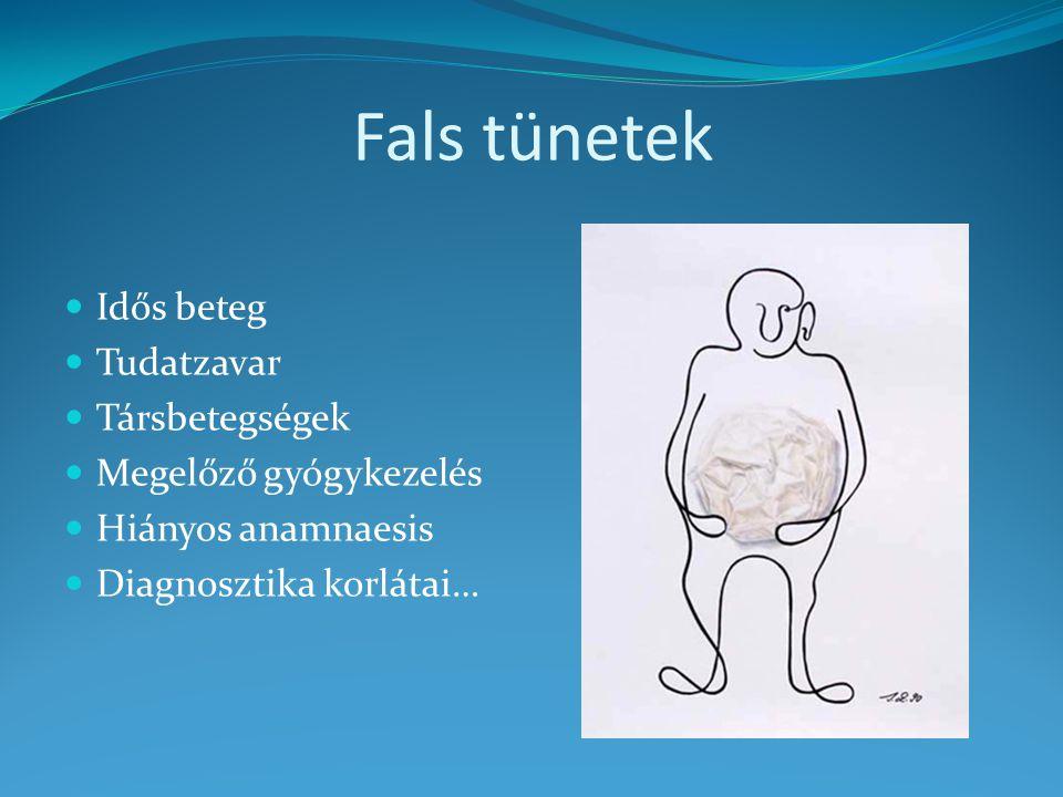Fals tünetek Idős beteg Tudatzavar Társbetegségek Megelőző gyógykezelés Hiányos anamnaesis Diagnosztika korlátai…