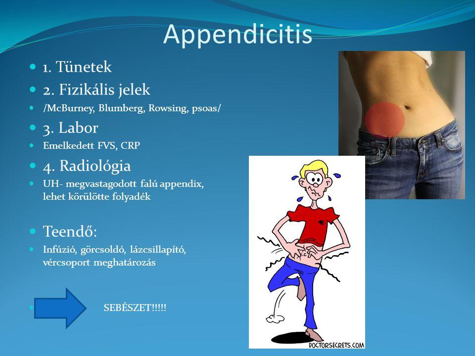1. Tünetek 2. Fizikális jelek /McBurney, Blumberg, Rowsing, psoas/ 3. Labor Emelkedett FVS, CRP 4. Radiológia UH- megvastagodott falú appendix, lehet