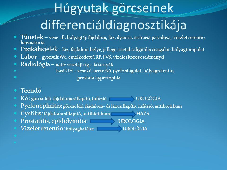 Húgyutak görcseinek differenciáldiagnosztikája Tünetek – vese- ill. hólyagtáji fájdalom, láz, dysuria, ischuria paradoxa, vizelet retentio, haematuria