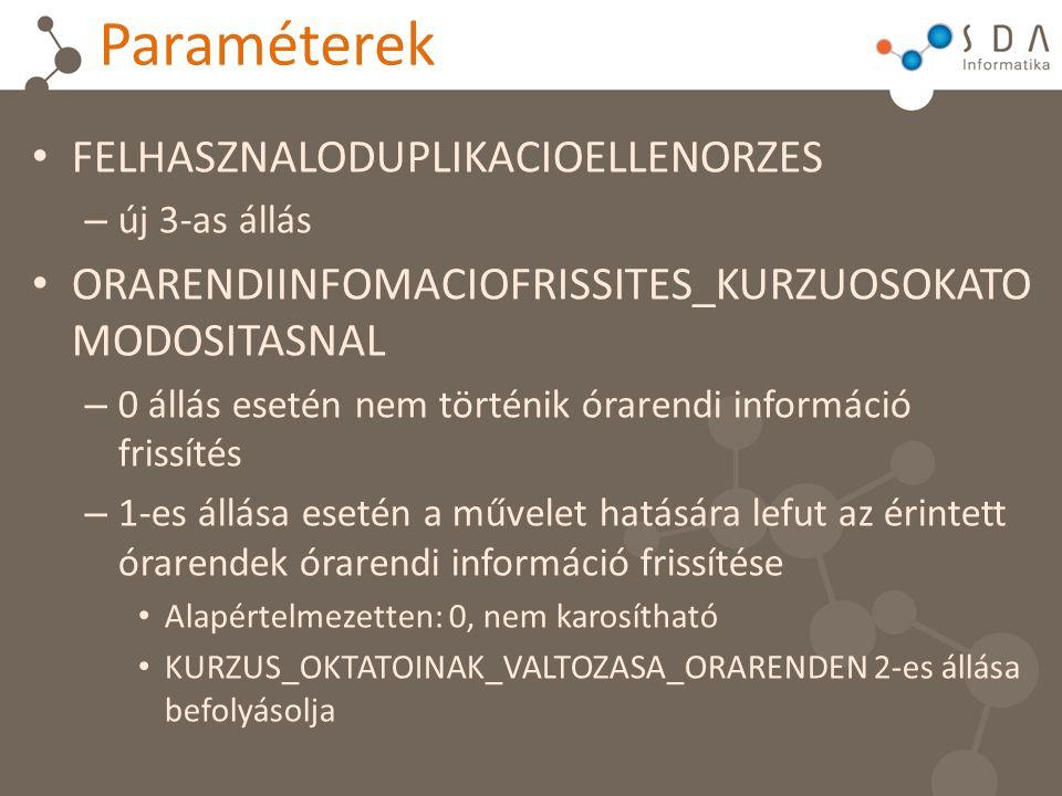 Paraméterek FELHASZNALODUPLIKACIOELLENORZES – új 3-as állás ORARENDIINFOMACIOFRISSITES_KURZUOSOKATO MODOSITASNAL – 0 állás esetén nem történik órarend