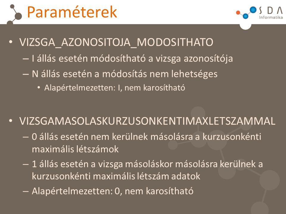 Paraméterek VIZSGA_AZONOSITOJA_MODOSITHATO – I állás esetén módosítható a vizsga azonosítója – N állás esetén a módosítás nem lehetséges Alapértelmeze