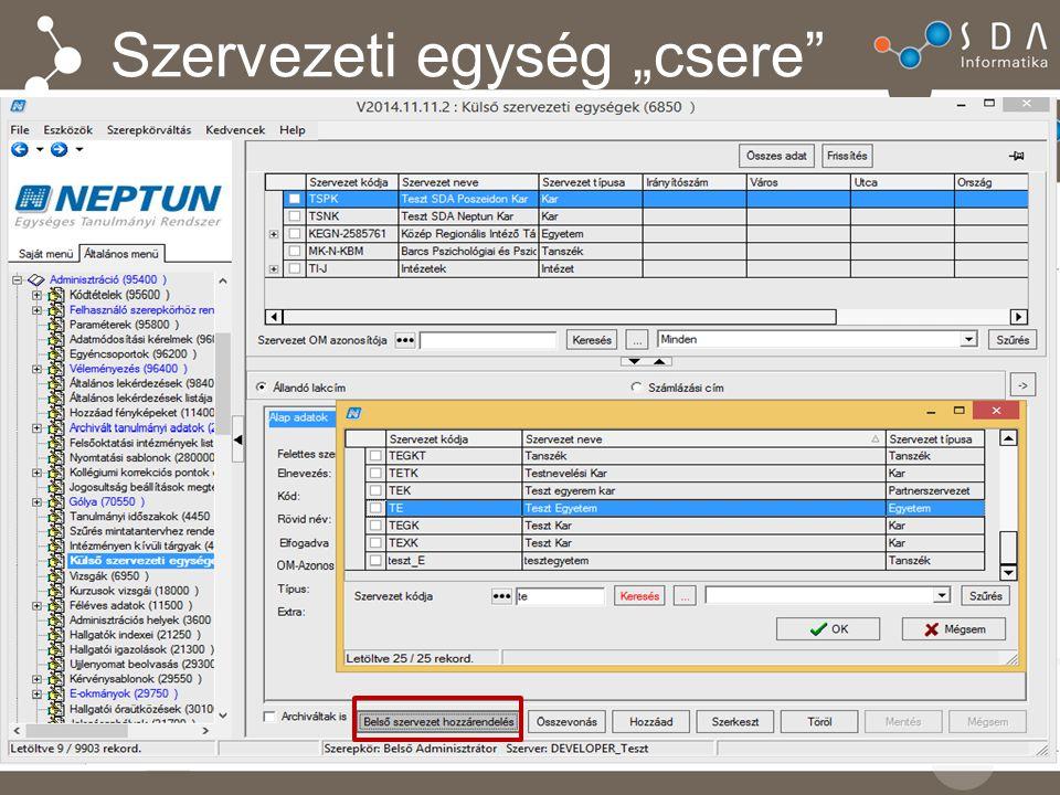 Paraméterek FELHASZNALODUPLIKACIOELLENORZES – új 3-as állás ORARENDIINFOMACIOFRISSITES_KURZUOSOKATO MODOSITASNAL – 0 állás esetén nem történik órarendi információ frissítés – 1-es állása esetén a művelet hatására lefut az érintett órarendek órarendi információ frissítése Alapértelmezetten: 0, nem karosítható KURZUS_OKTATOINAK_VALTOZASA_ORARENDEN 2-es állása befolyásolja