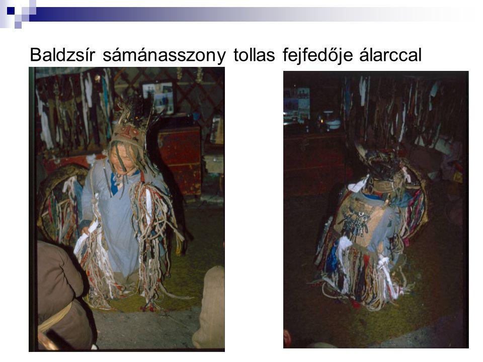 Baldzsír sámánasszony tollas fejfedője álarccal