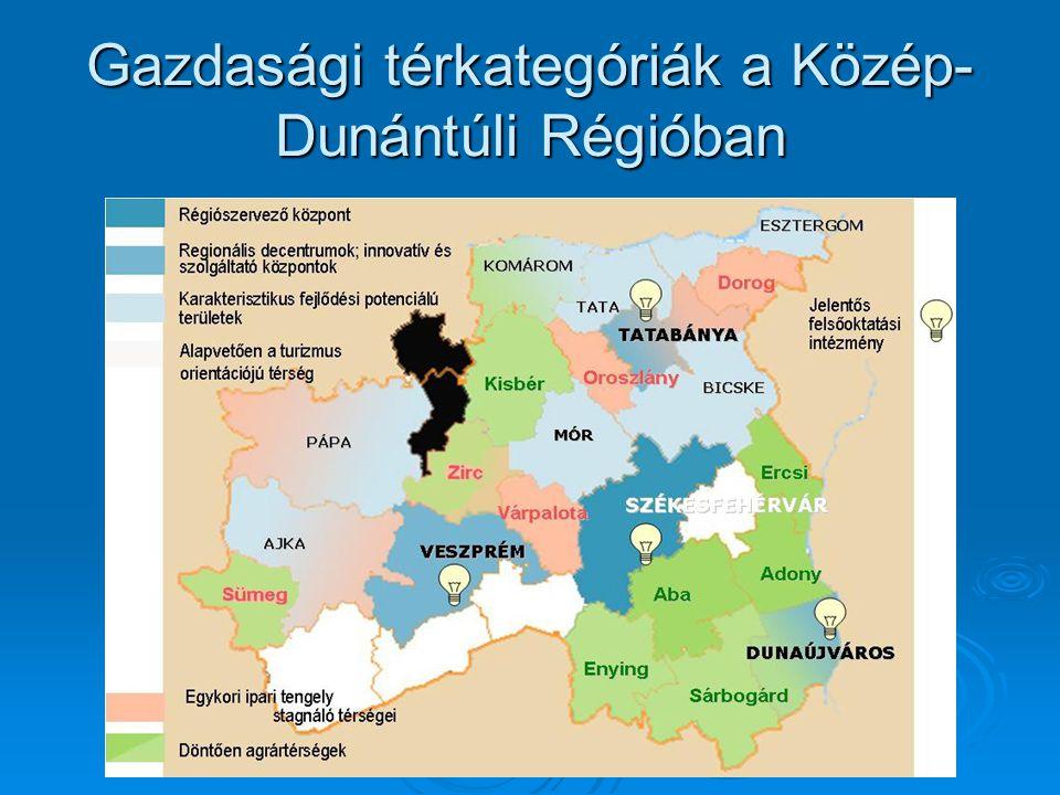 Gazdasági térkategóriák a Közép- Dunántúli Régióban