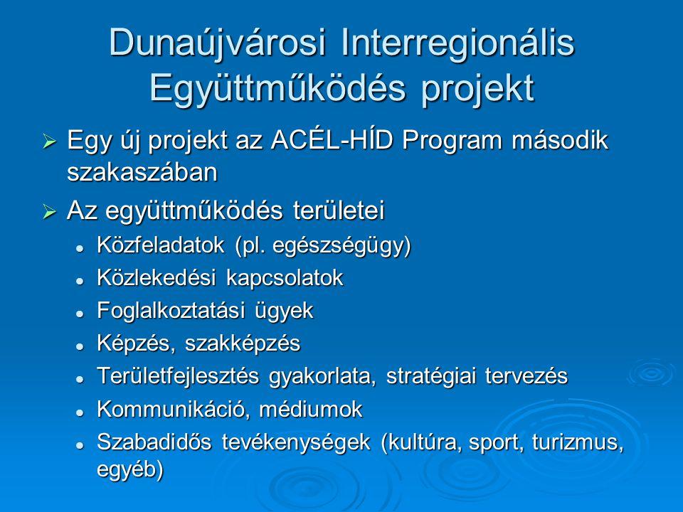 Dunaújvárosi Interregionális Együttműködés projekt  Egy új projekt az ACÉL-HÍD Program második szakaszában  Az együttműködés területei Közfeladatok (pl.