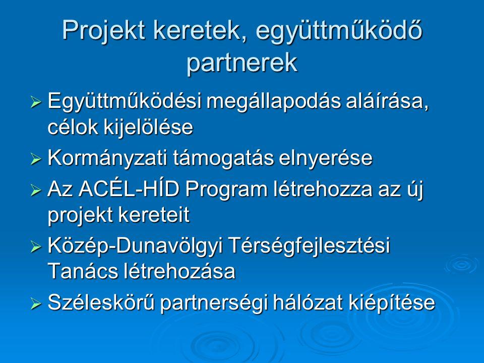 Projekt keretek, együttműködő partnerek  Együttműködési megállapodás aláírása, célok kijelölése  Kormányzati támogatás elnyerése  Az ACÉL-HÍD Program létrehozza az új projekt kereteit  Közép-Dunavölgyi Térségfejlesztési Tanács létrehozása  Széleskörű partnerségi hálózat kiépítése