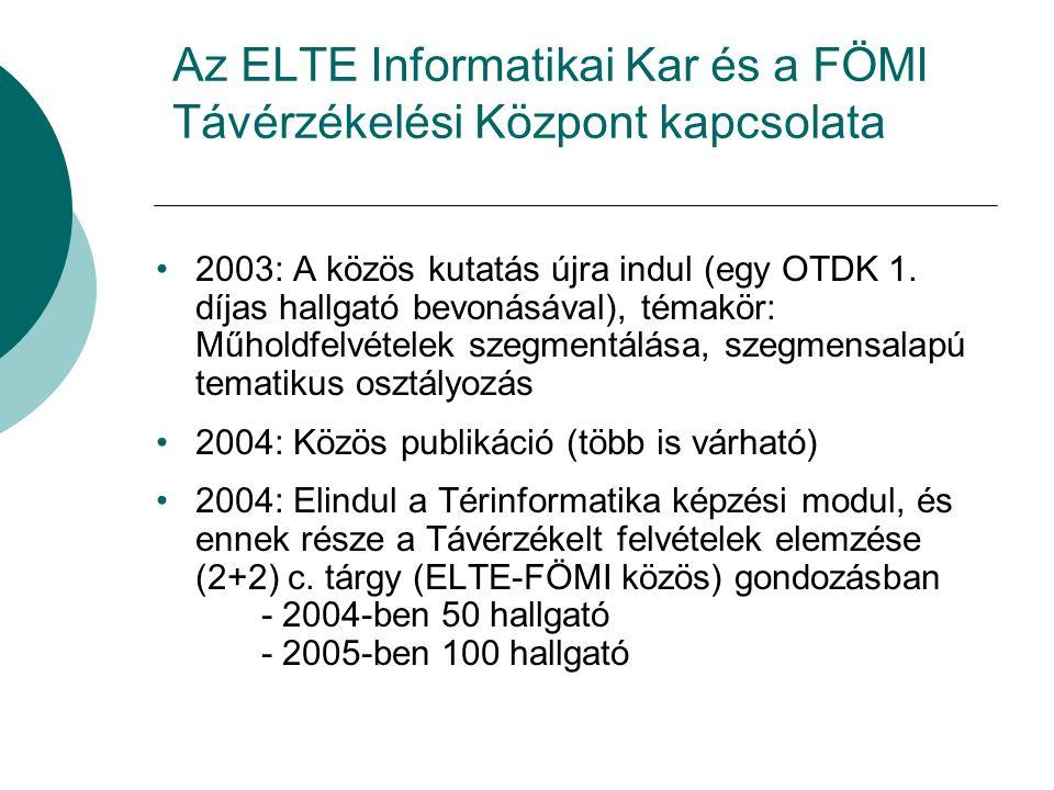 Az ELTE Informatikai Kar és a FÖMI Távérzékelési Központ kapcsolata 2003: A közös kutatás újra indul (egy OTDK 1.