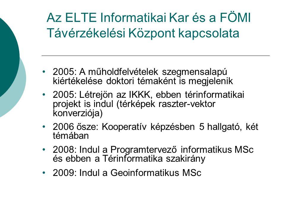 Az ELTE Informatikai Kar és a FÖMI Távérzékelési Központ kapcsolata 2005: A műholdfelvételek szegmensalapú kiértékelése doktori témaként is megjelenik 2005: Létrejön az IKKK, ebben térinformatikai projekt is indul (térképek raszter-vektor konverziója) 2006 ősze: Kooperatív képzésben 5 hallgató, két témában 2008: Indul a Programtervező informatikus MSc és ebben a Térinformatika szakirány 2009: Indul a Geoinformatikus MSc