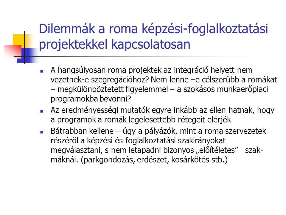 Dilemmák a roma képzési-foglalkoztatási projektekkel kapcsolatosan A hangsúlyosan roma projektek az integráció helyett nem vezetnek-e szegregációhoz.