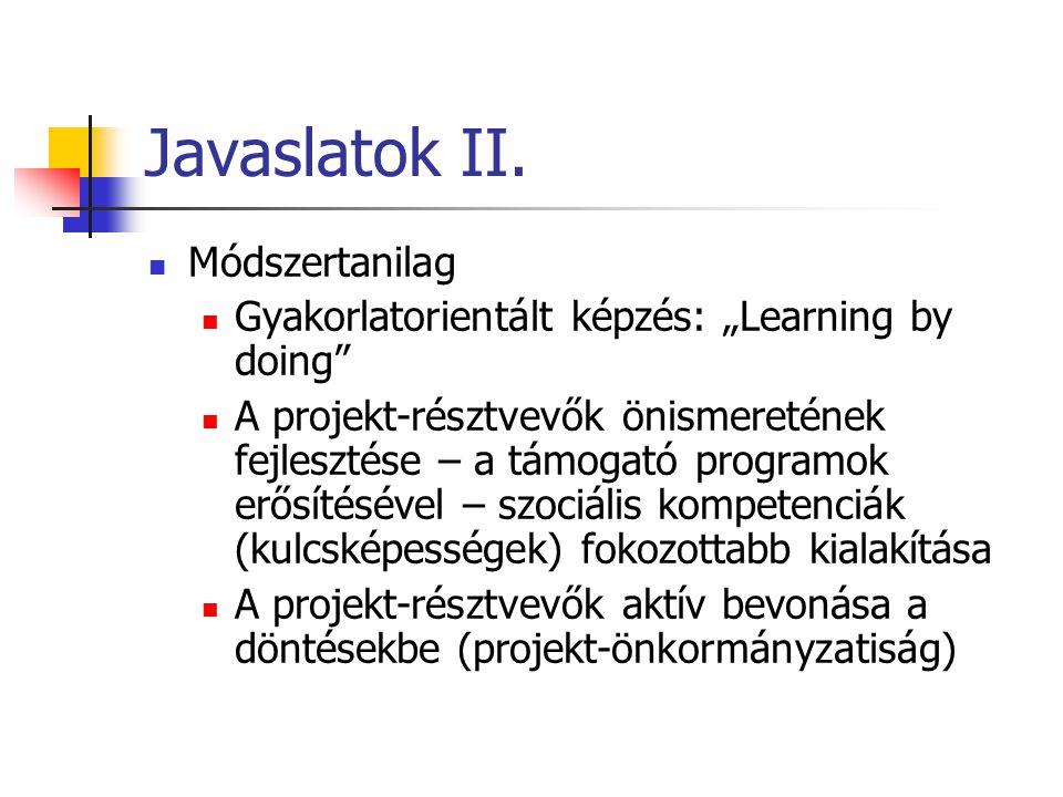 """Javaslatok II. Módszertanilag Gyakorlatorientált képzés: """"Learning by doing"""" A projekt-résztvevők önismeretének fejlesztése – a támogató programok erő"""