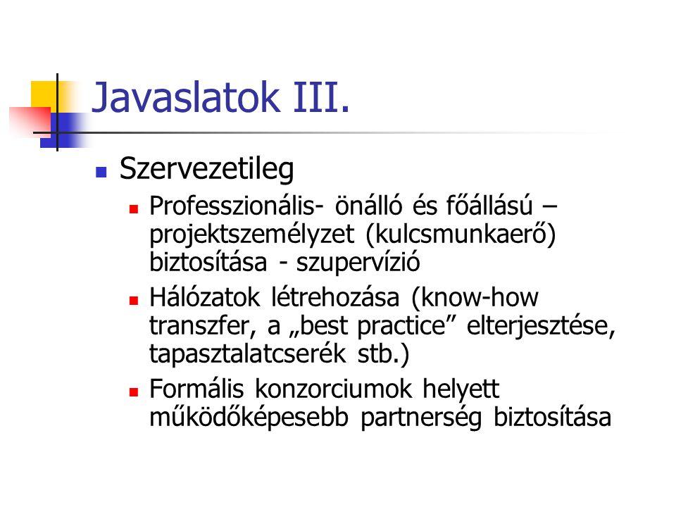 Javaslatok III. Szervezetileg Professzionális- önálló és főállású – projektszemélyzet (kulcsmunkaerő) biztosítása - szupervízió Hálózatok létrehozása